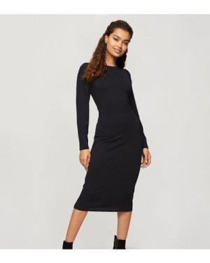 Miss Selfridge Petite ribbed midi dress in black