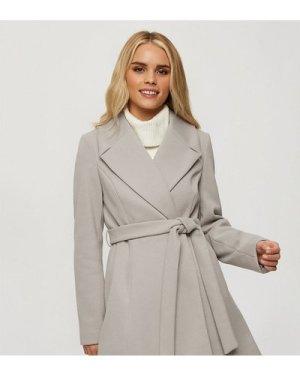Miss Selfridge Petite wrap coat in grey