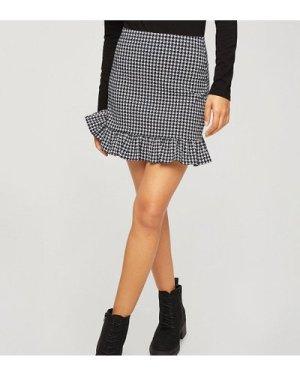 Miss Selfridge Petite bengaline frill detail mini skirt in houndstooth-Black