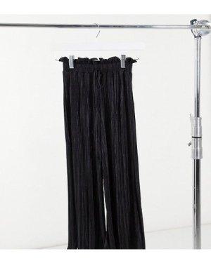 Miss Selfridge Petite plisse trousers in black