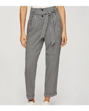 Miss Selfridge Petite tapered trouser in black gingham check