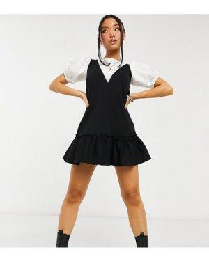 Miss Selfridge Petite 2 in 1 pinny dress in black