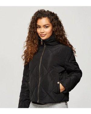 Miss Selfridge Petite quilted puffer jacket in black