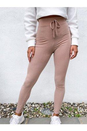Miss Selfridge Petite ribbed legging in camel-Brown
