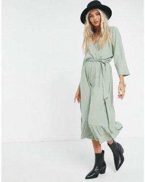 Object Iman wrap midi dress in green