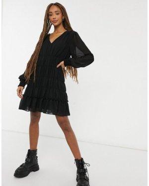 Object smock detail mini dress in black