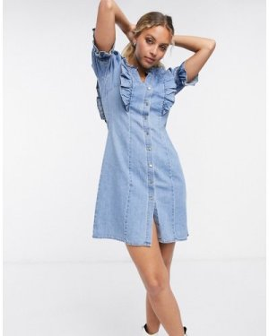 Object denim mini dress with button front and frill detail in light blue