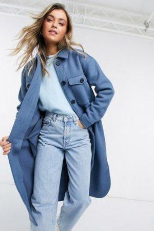 Object longline wool shacket in blue