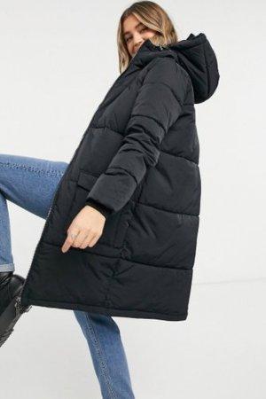 Object longline padded coat in black