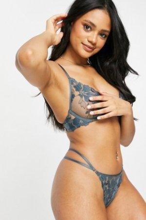Lindex Ella M high apex embroidered mesh sheer bra in dusty blue