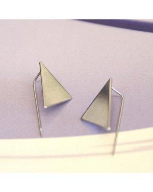 Triangle earrings in silver-tone