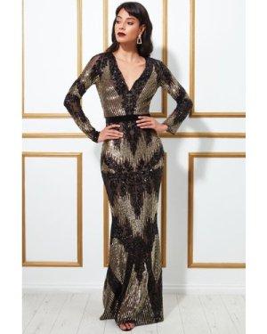 Goddiva Long Sleeve Sequin Evening Maxi Dress - Black