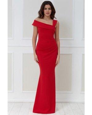 Goddiva Off the Shoulder Pleated Waist Maxi Dress - Red
