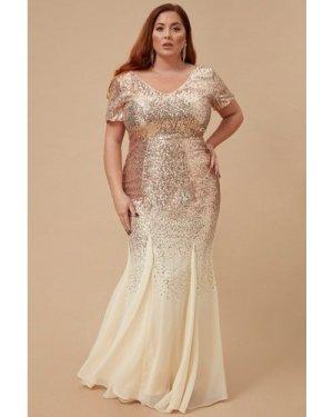 Goddiva Plus Sequin & Chiffon Maxi Dress - Champagne