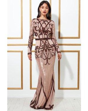 Goddiva Sequin Embellished Evening Maxi Dress - Champagne