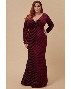Goddiva Plus Velvet Stripe Maxi Dress - Wine