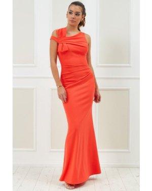Vicky Pattison – Side Shoulder Bow Maxi Dress - Orange