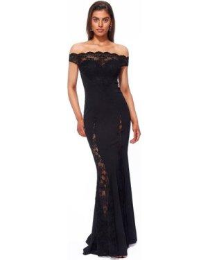 Goddiva Scallop Bardot with Lace Inserts Maxi Dress - Black