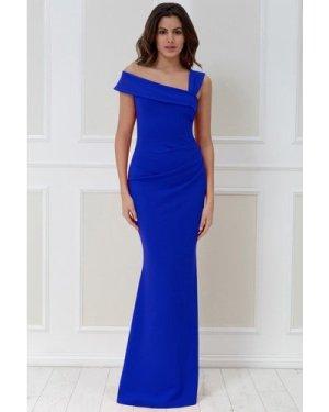 Goddiva Off the Shoulder Pleated Waist Maxi Dress - Royalblue