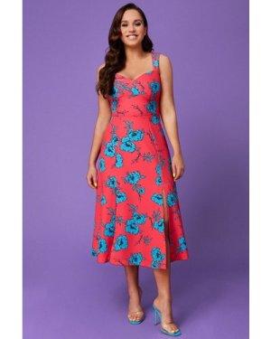 Vicky Pattison – Floral Strap Tea Dress with Slits - Hot Pink