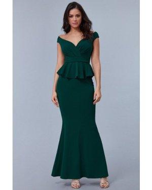 Goddiva Cross Over Peplum Maxi Dress - Emerald