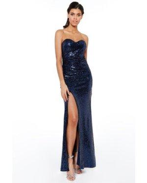 Strapless Sequin Split Maxi Dress  - Navy