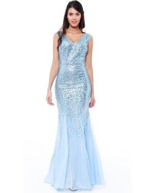 Sequin and Chiffon Maxi Dress - Powderblue