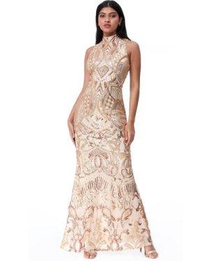 Goddiva High Neck Sequin Maxi Dress - Gold