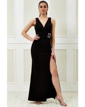 Vicky Pattison – Buckle Front Maxi Dress - Black