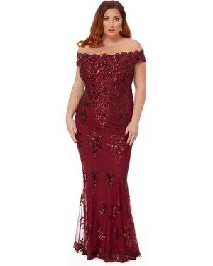 Goddiva Plus Scalloped Neck Sequin & Lace Maxi Dress - Wine