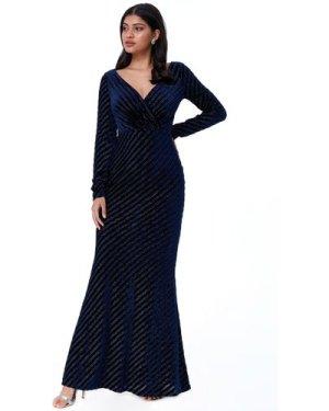 Goddiva Velvet Stripe Maxi Dress  - Navy
