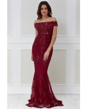 Goddiva Bardot Sequin Embroidered Maxi Dress - Wine