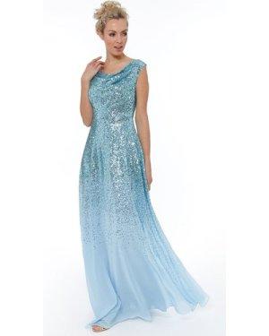 Pleated Bodice Sequin & Chiffon Maxi Dress - Powderblue