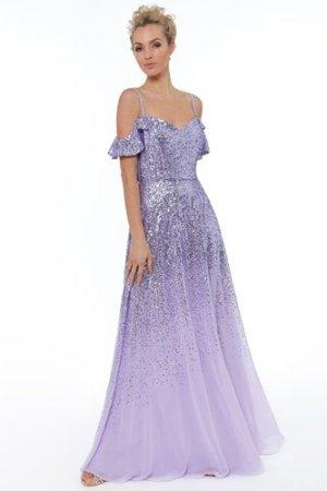 Flutter Sleeve Sequin & Chiffon Maxi Dress - Lavender