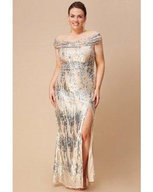 Goddiva Plus 3D Sequin Bardot Maxi Dress - Champagne