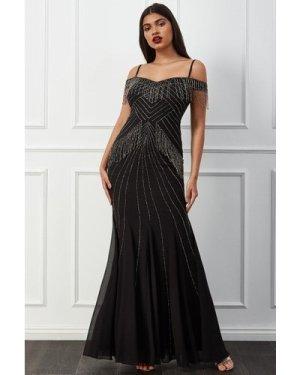 Goddiva Beaded Fringe Bardot Maxi Dress -  Black