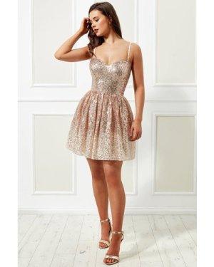 Stephanie Pratt – Spaghetti Strap Sequin and Chiffon Mini Skater Dress - Champagne