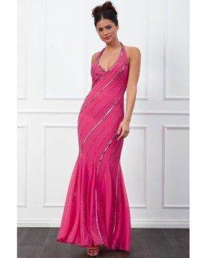 Goddiva Sequin Halter Neck Maxi Dress - Cerise