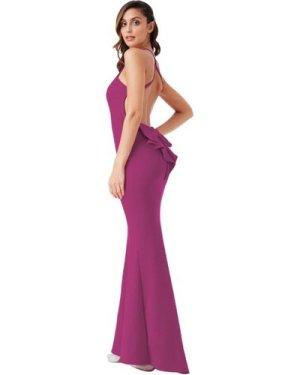 Open Back Bow Detail Maxi Dress - Magenta