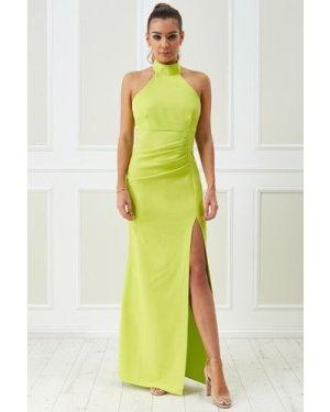 Vicky Pattison – Halter Neck Maxi Dress - Lime