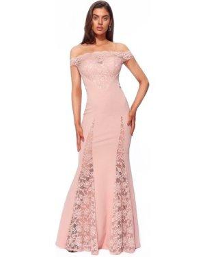 Goddiva Scallop Bardot with Lace Inserts Maxi Dress - Blush