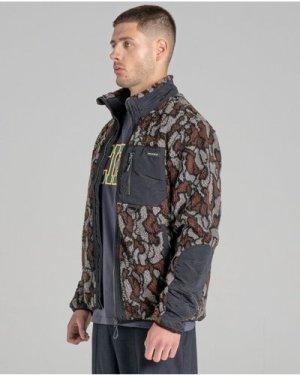 Bellfield Ocelot Sherpa Fleece Funnel Neck Unisex Jacket   Camo, Large