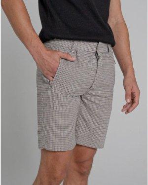 Bellfield Carlisle Check Tailored Men's Shorts | Mushroom, 36 Inch Waist