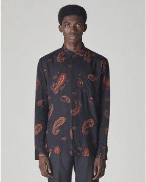 Bellfield Rimbaud Paisley Print Long Sleeve Mens Shirt   Black, Medium