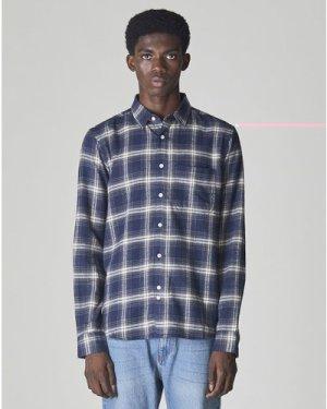 Bellfield Vallegrande Long Sleeve Check Unisex Shirt | Navy, Small
