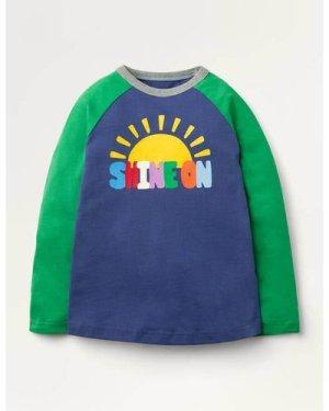 Rainbow Raglan T-shirt Blue Boden, Blue