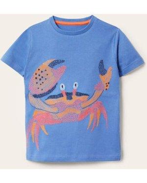 Underwater Superstitch T-shirt Blue Boys Boden, Blue