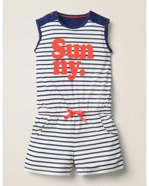 Slogan Jersey Playsuit Blue Girls Boden, Indigo