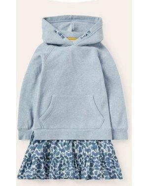 Cosy Hooded Woven Mix Dress Blue Girls Boden, Blue