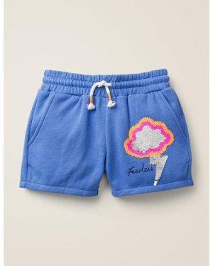 Sequin Colour-change Shorts Blue Girls Boden, Blue